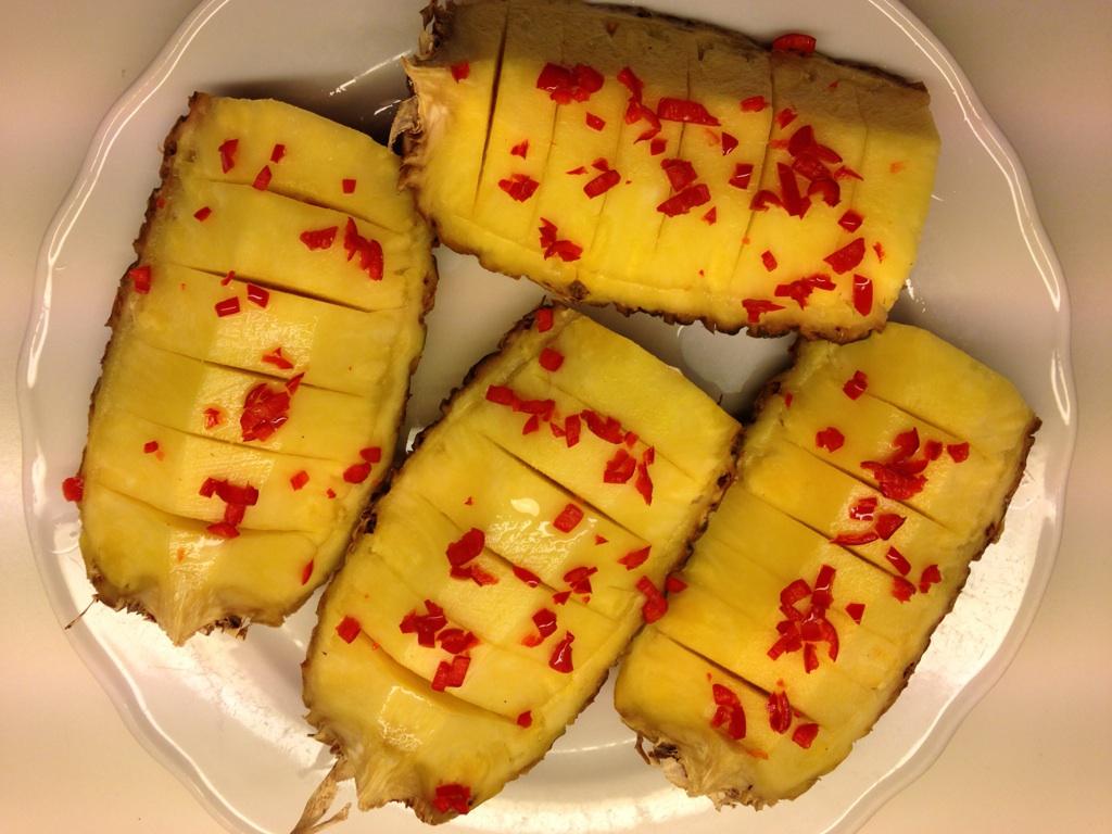 Ananas med chili ferdig