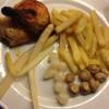Chips og kylling på fat