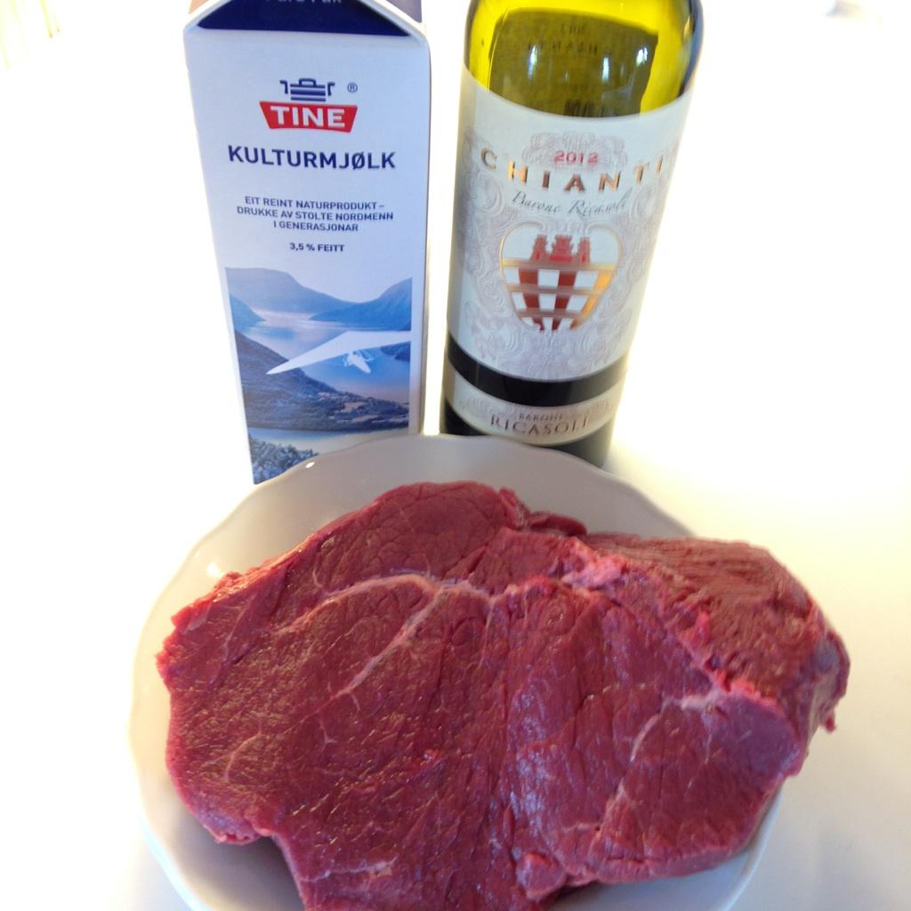 Roastbiff med vin og kulturmelk