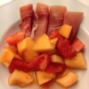 Spekeskiinke med cognac-marinerte meloner