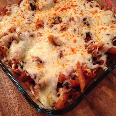Pasta med spinat og mozzarella